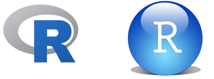 R and RStudio logos